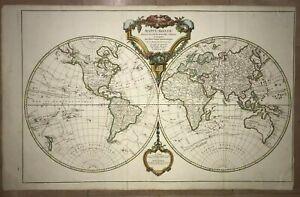 WORLD MAP 1790 ROBERT DE VAUGONDY VERY LARGE ANTIQUE ENGRAVED MAP 18TH CENTURY