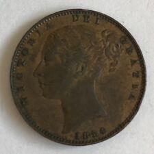 Antique Victoria Victorian 1854 Farthing Great Britain Copper Britannia