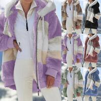 Contrasting Lamb Wool Padded Coat Women's Winter Fashion Casual Warm Zip Jacket