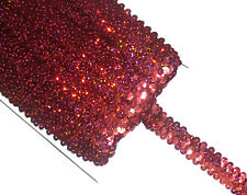 STUNNING 2 ROW HOLO ELASTIC STRETCH SEQUIN TRIM 22MM, VARIOUS COLOURS, SOLD BTM