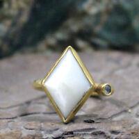 Roman Art Handmade Shell Ring 925k Sterling Silver Turkish Designer Gemstone
