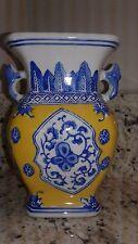 Chinese Ceramic Blue/White and Yellow Signature Stamped Vase