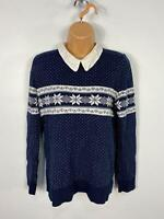 WOMENS ASOS NAVY/WHITE SNOWFLAKE KNITTED COLLARED FESTIVE JUMPER SWEATER UK 12