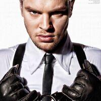 BytheR Men's Black Urban Glamorous Fashion Chic Leather Skinny Thin Neck Tie