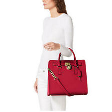 Michael Kors Satchel Red Chili Hamilton Convertible Leather Tote bag Purse L Nwt