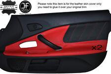 Negro Perforado & Cuero Rojo 2x Puerta Tarjeta Moldura Tapa se ajusta Honda S2000 04-09