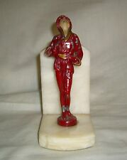 VINTAGE RARE DECO J. B. HIRSCH RED MUSICIAN SCULPTURE & MARBLE SINGLE BOOKEND
