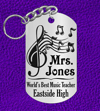 Music Teacher Keychain, Personalized w' NAME! Great Gift for Chorus or Band