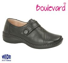 LADIES Leather Lined Adjustable Bar Shoes  Wide EEE Fit Black Size 3 4 5 6 7 8 9