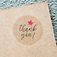 THANK YOU STICKERS - Clear, Envelope Seals Round 25/38/63mm Wedding Favor labels