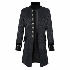 Men's Steampunk Military Trench Coat Gothic Stand Collar Long Jacket Outwear