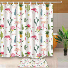 Flamingo Bird Pineapple in Cactus Waterproof Fabric Shower Curtain & 12 Hooks
