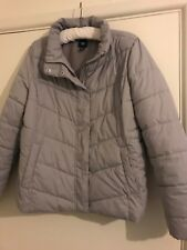 GAP PUFFER PADDED COAT JACKET SIZE LARGE 16 18 GREY WINTER FLEECE POCKET QUILTED