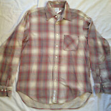 REPLAY JEANS MEN'S LONG SLEEVE BROWN PLAID SHIRT LARGE EMBROIDERED