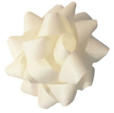 White Iridescent Ribbon Bows. Extra Large 7 inch Self Adhesive. Pack of 4.