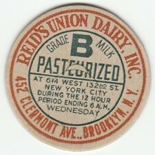 MILK BOTTLE CAP. REID'S UNION DAIRY, INC. BROOKLYN, NY. REPRODUCTION