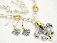 & Earring Set (Wow) Large Fleur De Lis Necklace