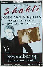 "John McLaughlin/ Zakir Hussain ""Remember Shakti"" 2000 Denver Concert Tour Poster"