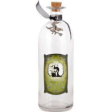 NEW GLASS WITCHES SPELL BOTTLE /WICCA /WITH A SILVER PEWTER WITCH CHARM
