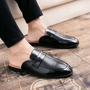 Casual Shoes Leather Half Slipper Loafers Hollow Out Slip On Round Toe Shoe Mens