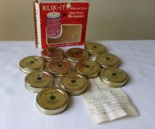 VTG Klik It Mason Jar Caps One Piece Reusable Canning Lids Original Box 11 Pce