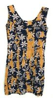 Jams World Women's Sleeveless Floral Mini Dress size 3 Black Yellow Mustard BJ
