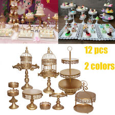 12 pcs Cake Stand Kit Crystals Rose Lace Metal Wedding Party Display Tower Decor