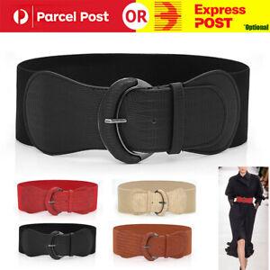 Women Ladies Faux Leather Wide Stretch Elastic Buckle Cinch Waist Wide Belt