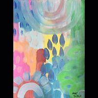 Matt Scalf Abstract ORIGINAL PAINTING 9x12 Modern Colorful Boho Hippie Happy