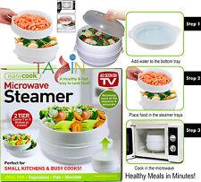 MICROWAVE STEAMER 2 TIER COOKER VEGETABLE FISH PASTA COOKING POT PAN