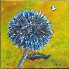 "Blue Cardo Pallottola Echinops (veitches) - Originale Acrilico su tela 20X20CM 8""X8"""