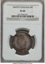 Bolivia 4 Soles 1860 Pts FJ NGC XF40 Escaso Moneda