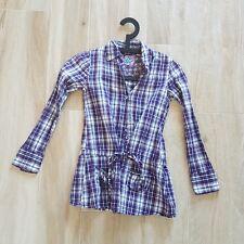 Camicia a quadri bianca viola  bambina, Camicia a quadri ragazza