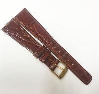 ESQ Genuine Alligator 16mm Genuine Dark Brown Leather Gold Buckle Watch Band
