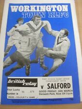 24/03/1978 Rugby League Programme: Workington Town v Salford (light fold)