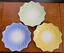"Three Vintage ANCHOR HOCKING VITROCK LEAF & BLOSSOM PLATES 8"" Yellow Green Blue"