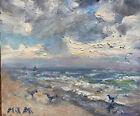 Original California Coastal Surf Beach Seagulls Clouds Seascape Oil Painting Art