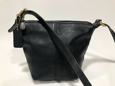 RARE Small COACH Vntg Black Leather Crossbody Shoulder Bucket Bag  USA
