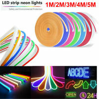 1/2/3/4/5m Waterproof LED Strip Neon Lights 2835 SMD Flexible 12V Silicone Tube