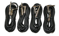 "4 Lot 12Ft. Right-Angle 1/4"" Male to Male Shielded PVC Guitar Cable Cord 4pcs."