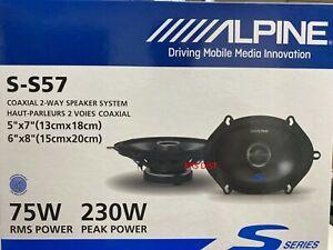 """New Alpine S-S57 S-Series 5""""x7"""" 2-way car speakers New Pair S-S57 6x8 type S"""