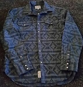 NWT MSRP $79 LUCKY BRAND Long Sleeve Pearl Snap Front Blue Western Stretch Shirt