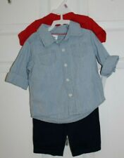 BYS SZ 9M 3PC SET- SS TEE SHIRT, BUTTON FRONT SHIRT,PANTS by CARTER'S-NWT'S