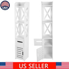 Tall Bathroom Toilet Storage Rack Cabinet Shelf Organizer Paper Holder White