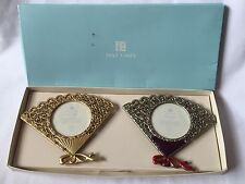 Pewter Past Time Pair Photos Fan Frame
