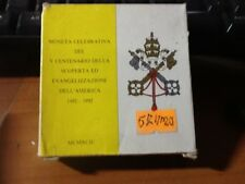 57ma) EURO 500 LIRE VATICANO - MONETA CELEBRATIVIA SCOPERTA AMERICA - 1942-1992