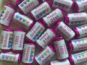 Personalised Birthday Mini Love Heart Sweets 13th 16 18 21st 30 40 50 60 65 QZR