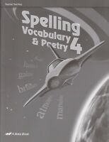 A beka Spelling Vocabulary & Poetry Grade 4 Tests & Teacher Test Key (2 books)