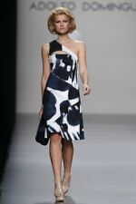 Designer ADOLFO DOMINGUEZ dress SIZE 8 38 abstract one shoulder party holiday