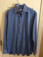 Men's Ermenegildo Zenga Dress Shirt 16 Long Sleeve 100% Cotton Reg Fit Med Blue